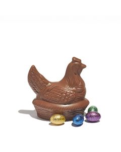Milk Chocolate Hen on Basket with Mini Eggs